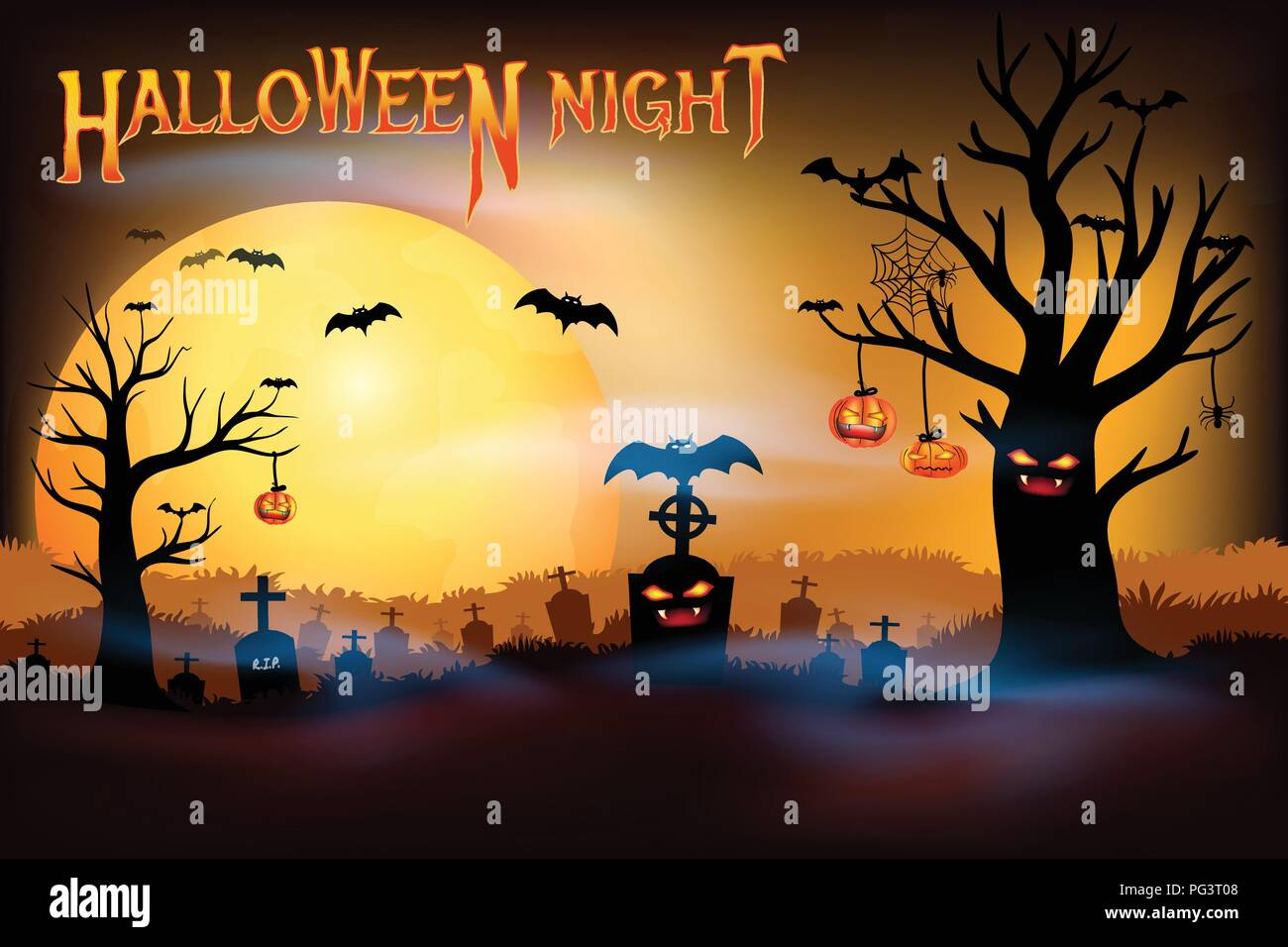 Halloween night concepts, Dark silhouette death tree with cemetery graveyard and creepy bats with full moon background, Halloween Night party with cop - Stock Vector