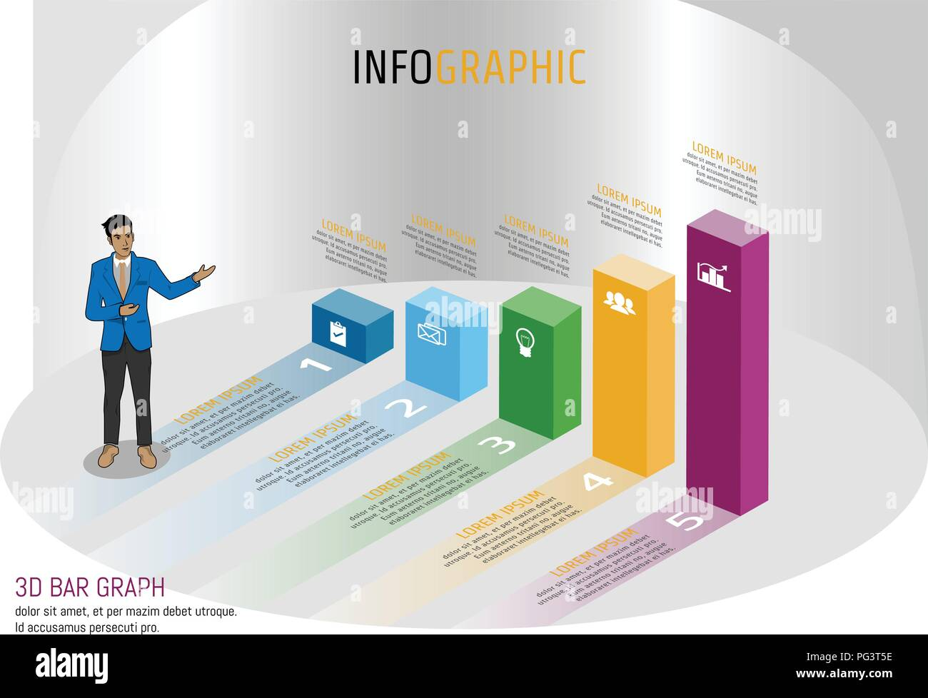vector illustration infographic template in isomatic bar graph