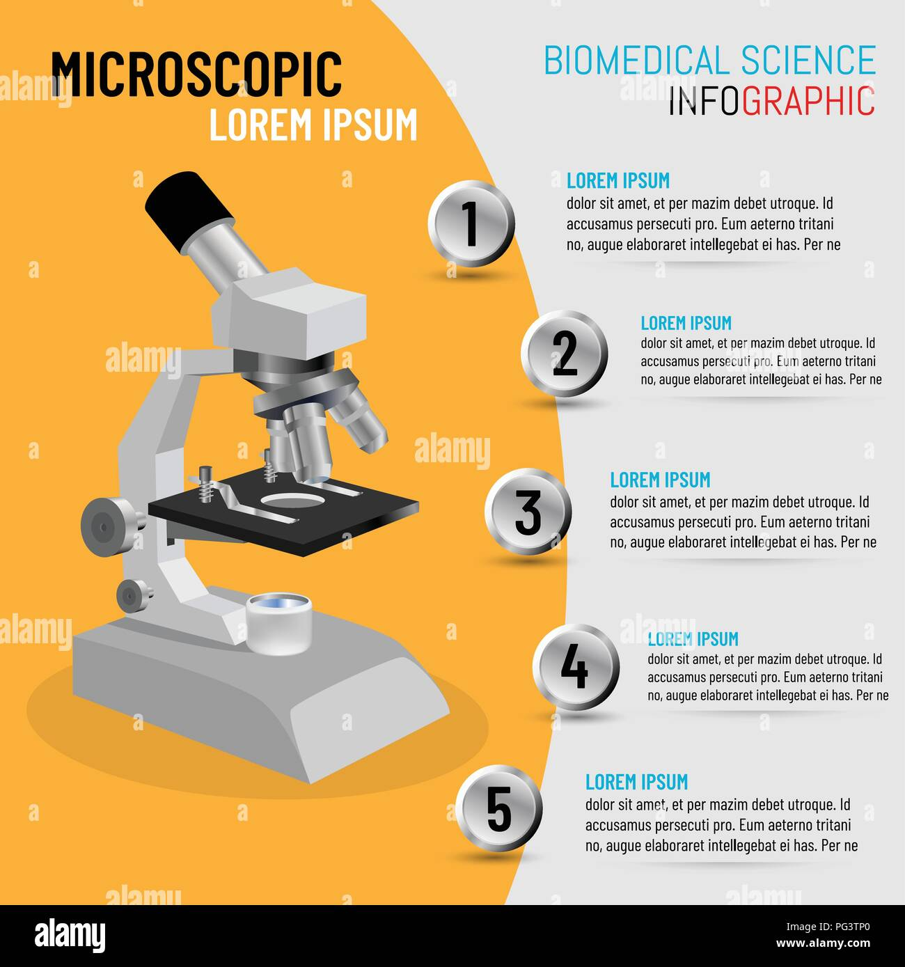 The concept of biomedical science with 5 step processes of microscope inspection methods, Vector illustration - Stock Vector