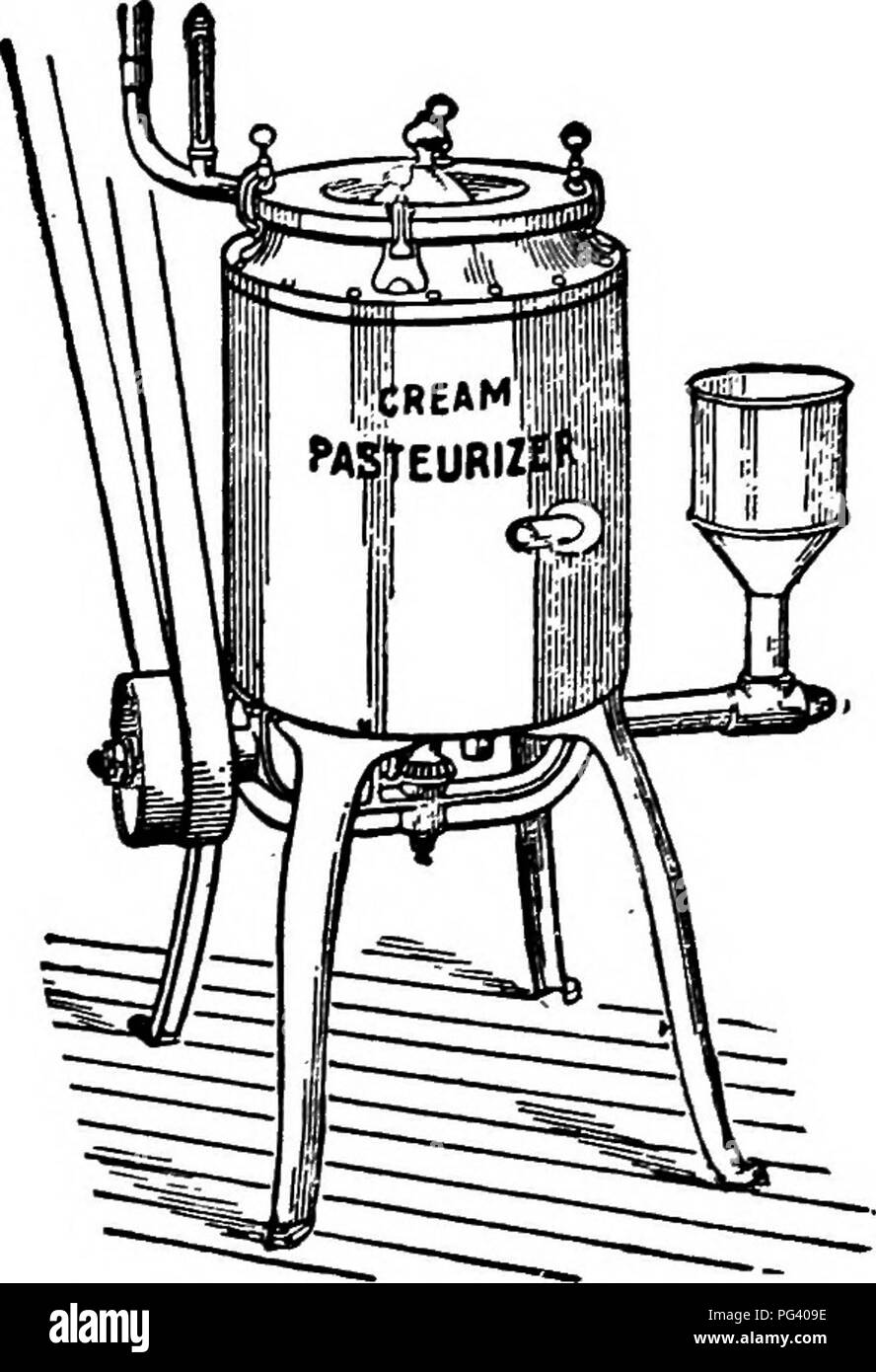 . Principles and practice of butter-making : a treatise on the chemical and physical properties of milk and its components, the handling of milk and cream, and the manufacture of butter therefrom . Butter; Milk. 176 BUTTER-MAKING. (5) Proper utilization of steam turned into the pasteurizer. (1) Heating-surface.—It is a well known fact that some metals will conduct heat better than others. The relative heat conductivity of the two substances used chiefly for pasteurizers, viz., copper and tin, is .918 and .145 respectively. This means that copper will conduct heat nearly seven times faster than - Stock Image