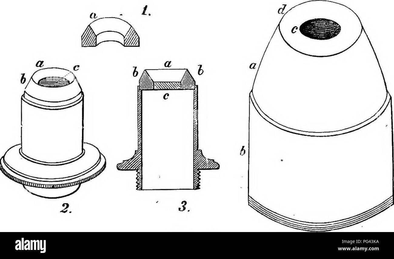. A practical treatise on the use of the microscope, including the different methods of preparing and examining animal, vegetable, and mineral structures. Microscopes; Microscopy. ILLUSTKATOES. 205 on the last one, D, by means of the lever, F. The illuminator itself consists of a portion of a large thick lens, such as that represented by G, as being cut off from H. In order to explain its action the course of three rays of light, ah c, is represented: these rays, on reaching the first surface, are ren- dered slightly convergent; on meeting with the plane surface they are reflected at right ang - Stock Image