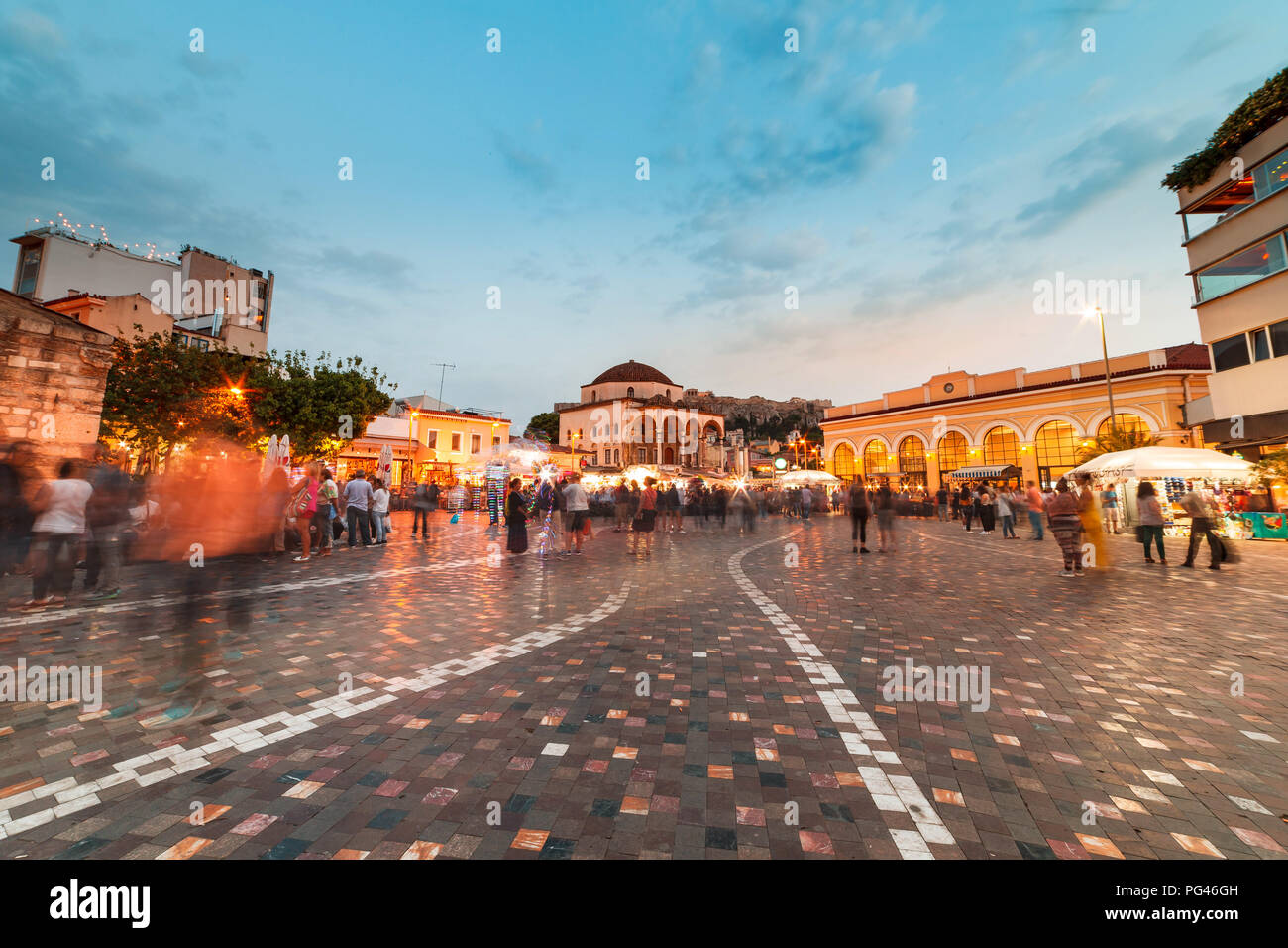 Long Exposure, wide shot at night, Monastiraki square Athens Greece - Stock Image