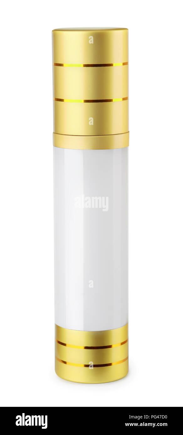 Blank closed perfume bottle  isolated on white - Stock Image