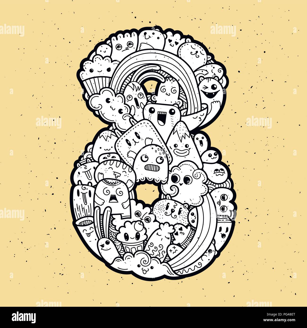 number eight. hand drawn doodled kids numbers. cute monstred numbers