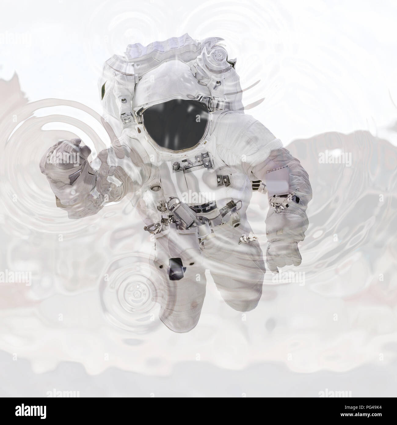 Astronaut in spacesuit close up. Spaceman in outer space. Virtual reality. 3d illustration. Mixed media - Stock Image