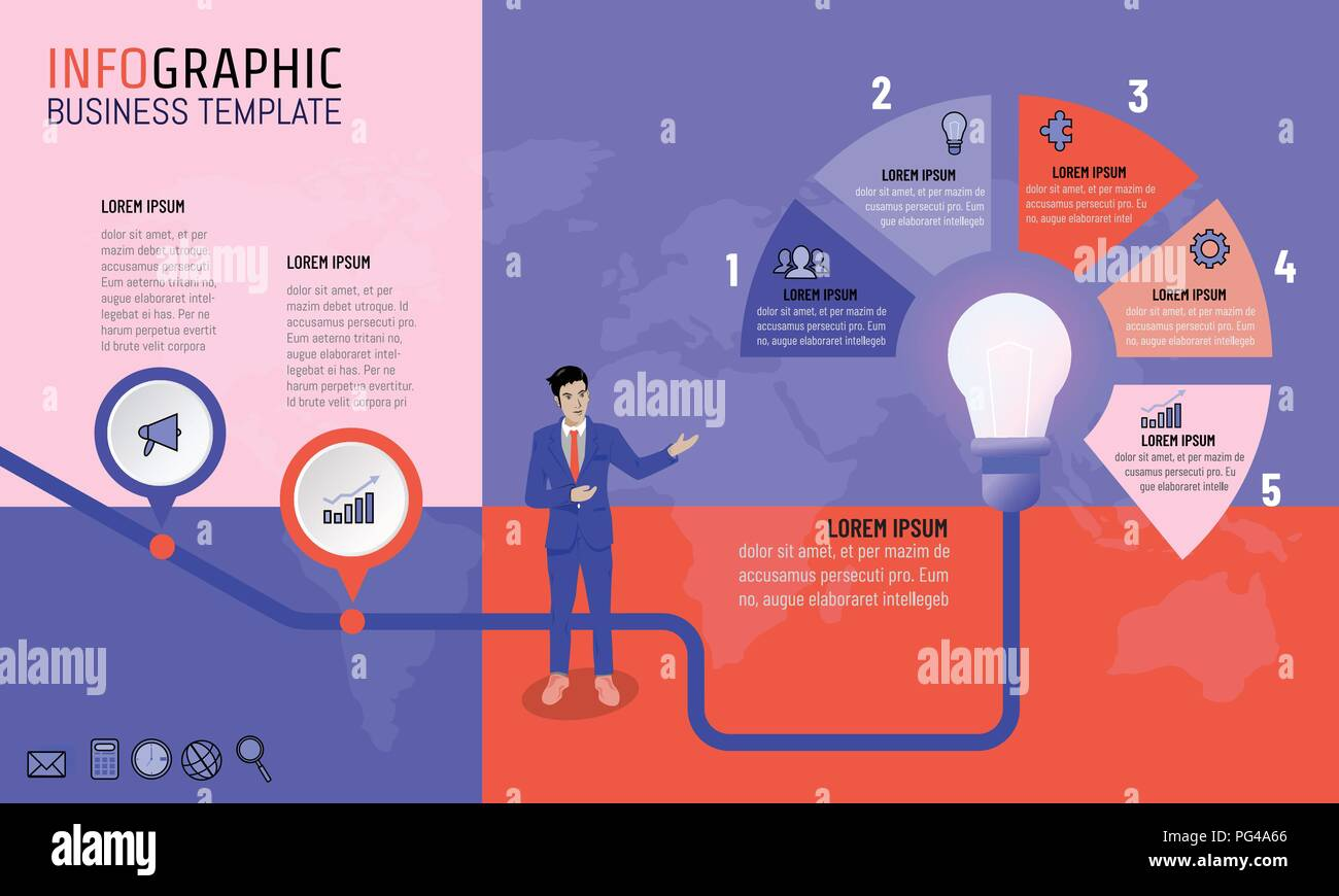 Vector Illustration Of Business Man Infographic Presentation Idea With Light Bulb Template For Creative Diagram 2 And 5 Options Timeline Planning Strategy Concept