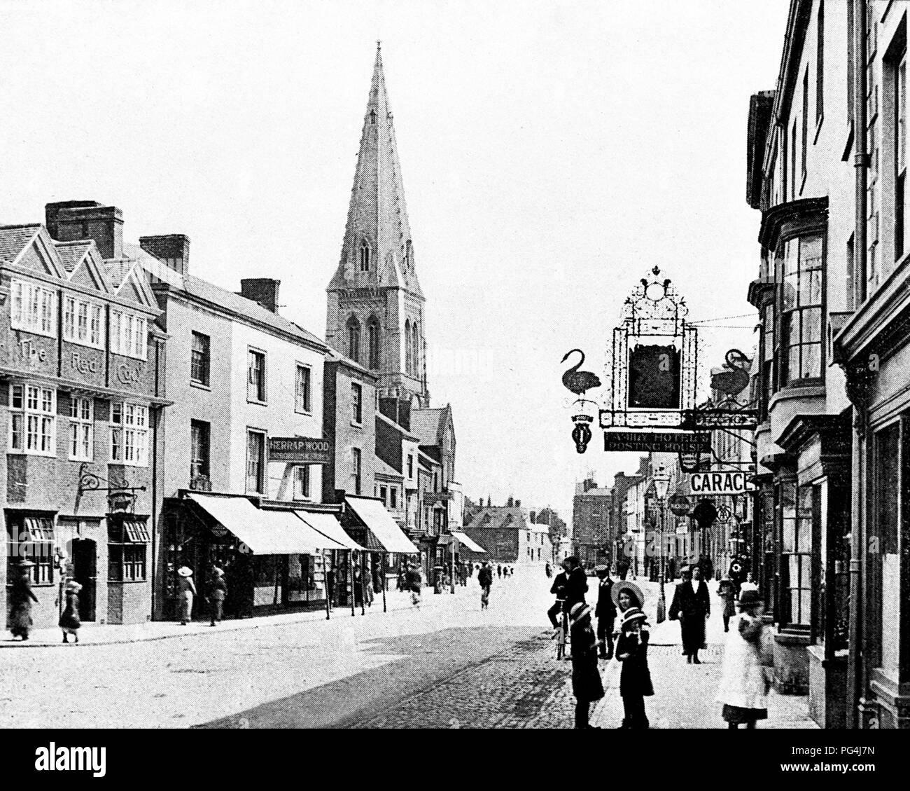 High Street, Market Harborough, Victorian period - Stock Image