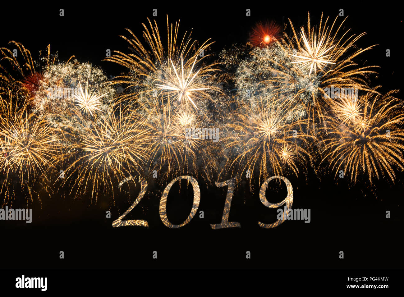 happy new year 2019 celebration colorful fireworks new year and holidays concept