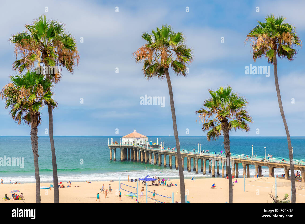 Palm trees at Manhattan Beach. Fashion travel and tropical beach concept. - Stock Image