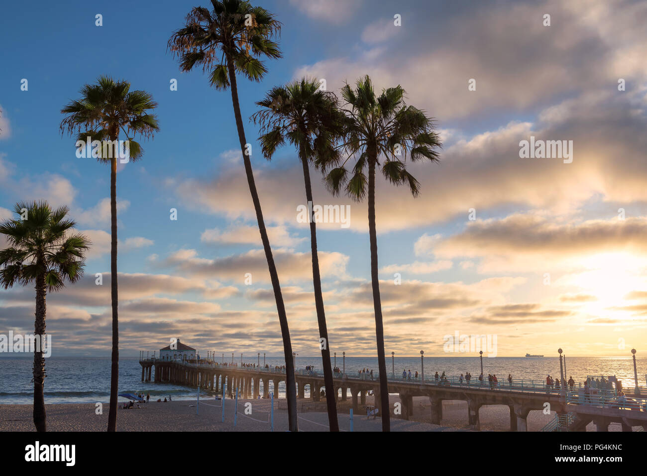 California beach at sunset, Los Angeles, California. - Stock Image