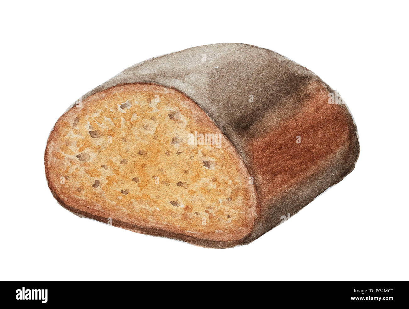 Hand Drawn Rye Bread Isolated On White Background Watercolor Illustration Stock Photo Alamy