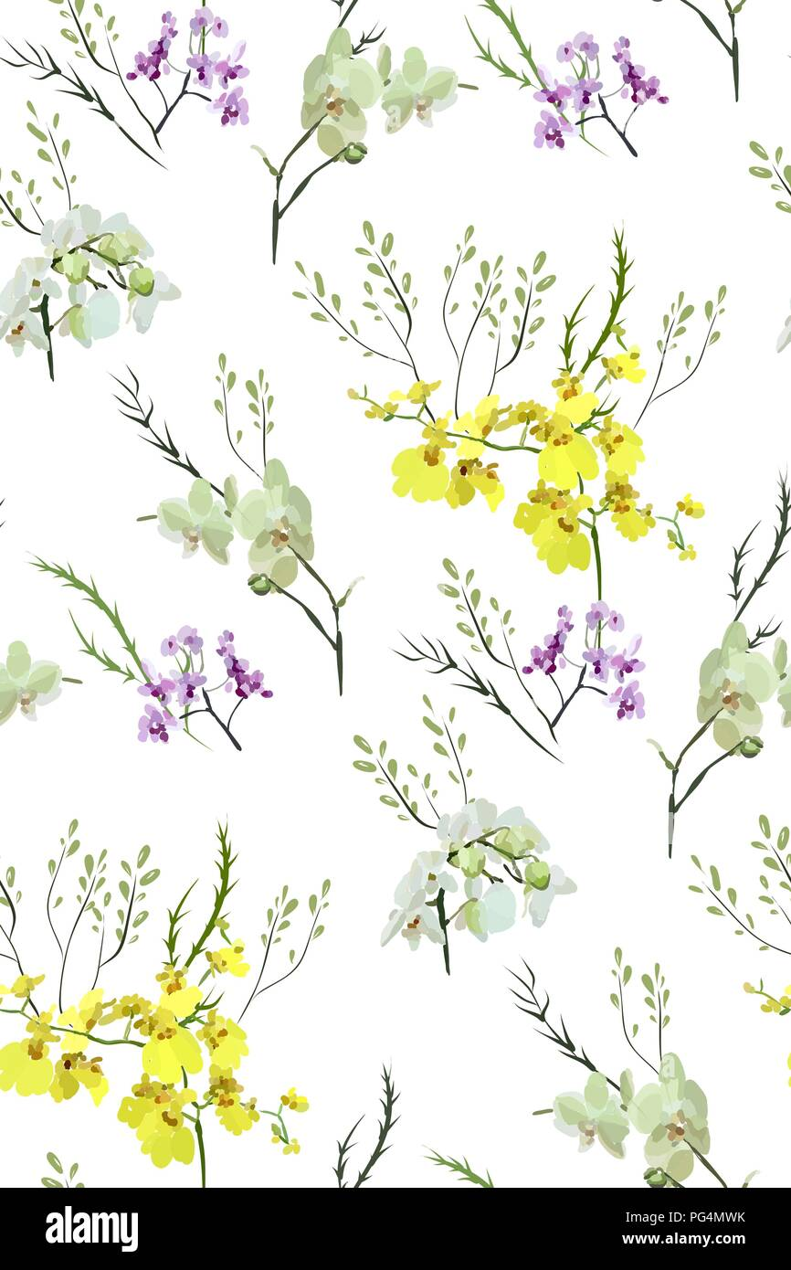 Floral Seamless Pattern With Different Flowers And Leaves Botanical