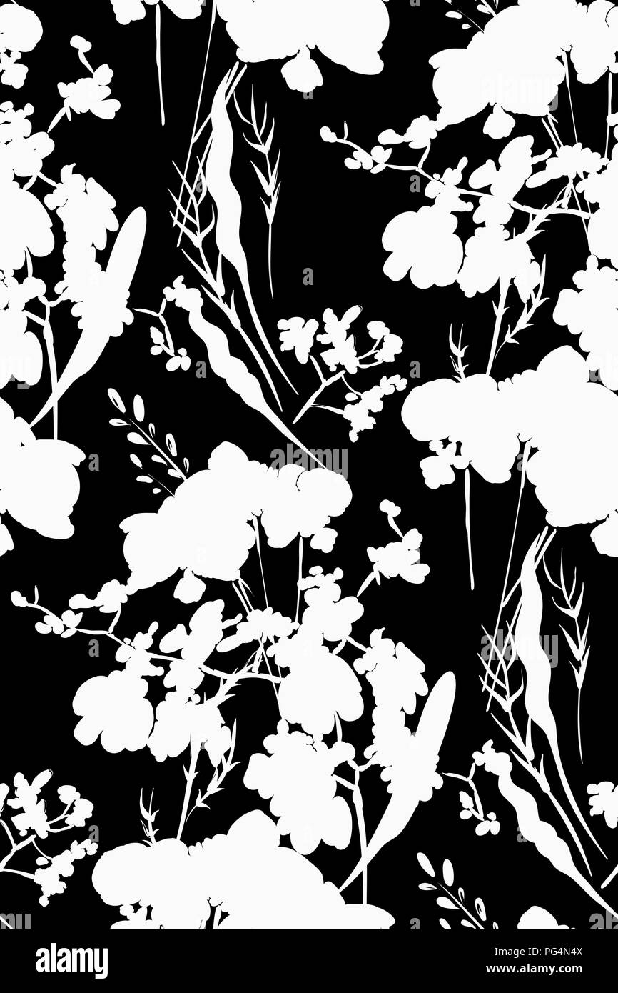 Flower Print Fabric Black And White Stock Photos Images Alamy