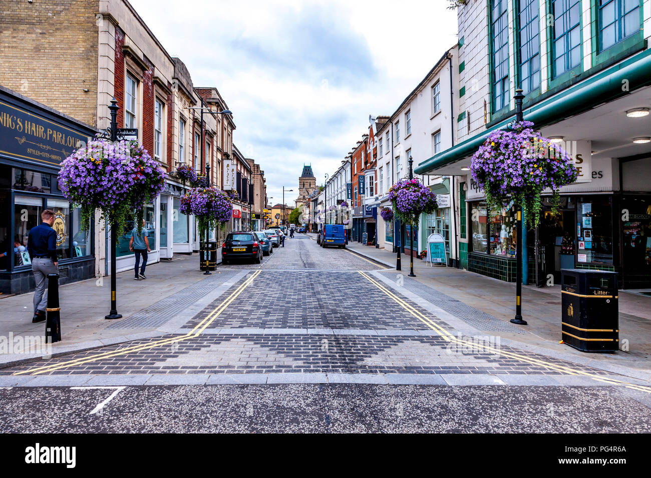 St Giles Street, Northampton, Northamptonshire, UK on a quite dull morning looking towards the town centre. - Stock Image