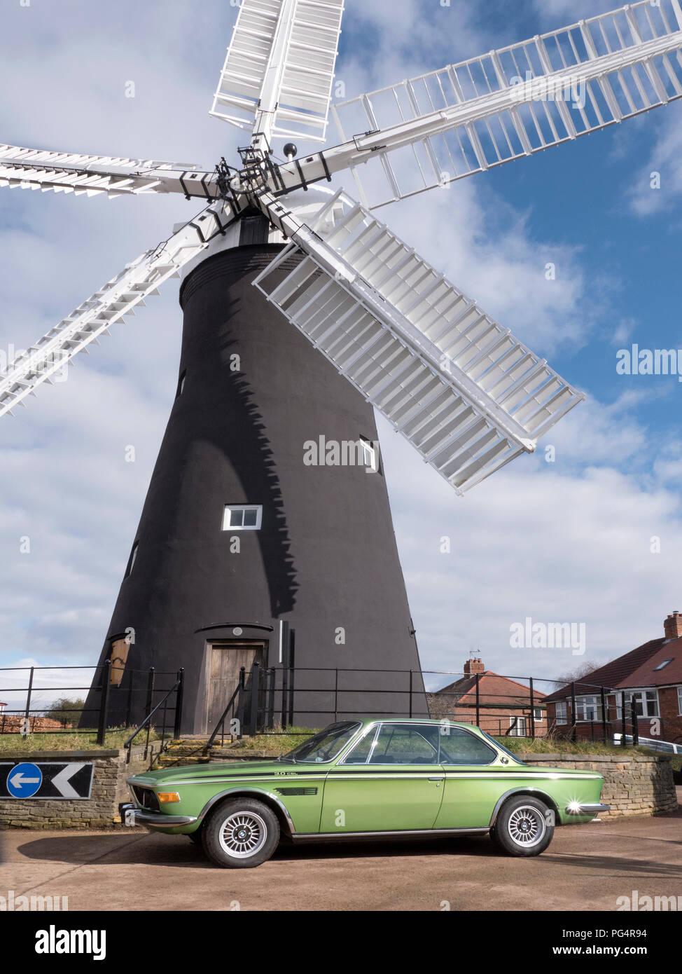 1972 BMW 3.0 CSL Holgate Windmill York UK - Stock Image