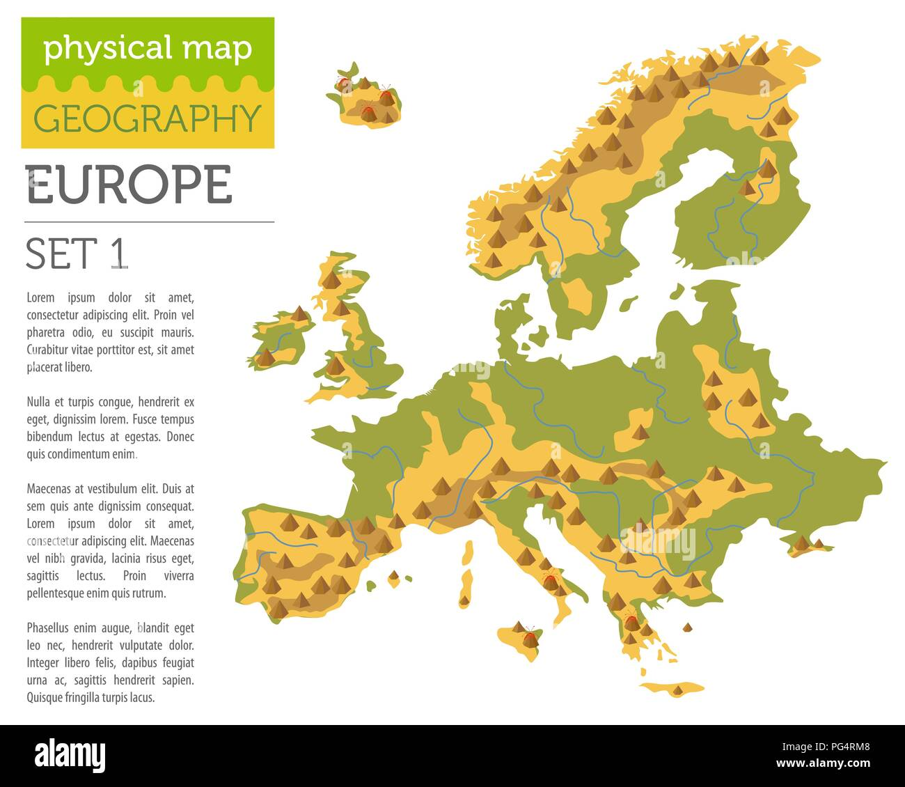 Flat Europe physical map constructor elements isolated on white. Build your own geography infographics collection. Vector illustration - Stock Vector