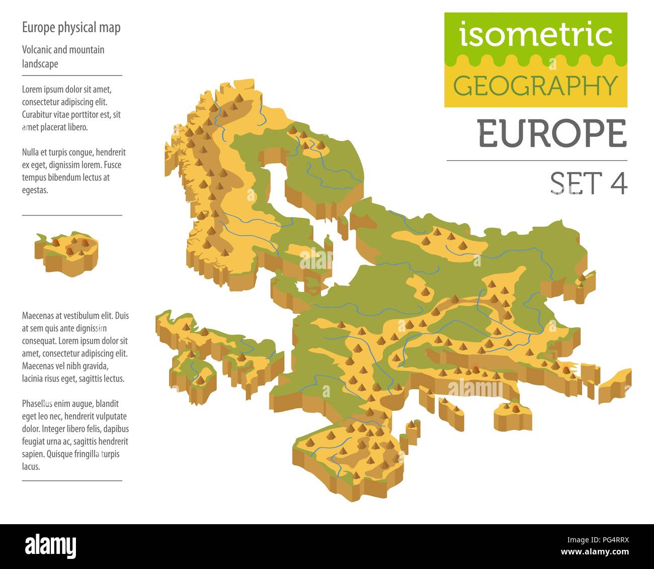 Isometric 3d Europe physical map constructor elements isolated on white. Build your own geography infographics collection. Vector illustration - Stock Image
