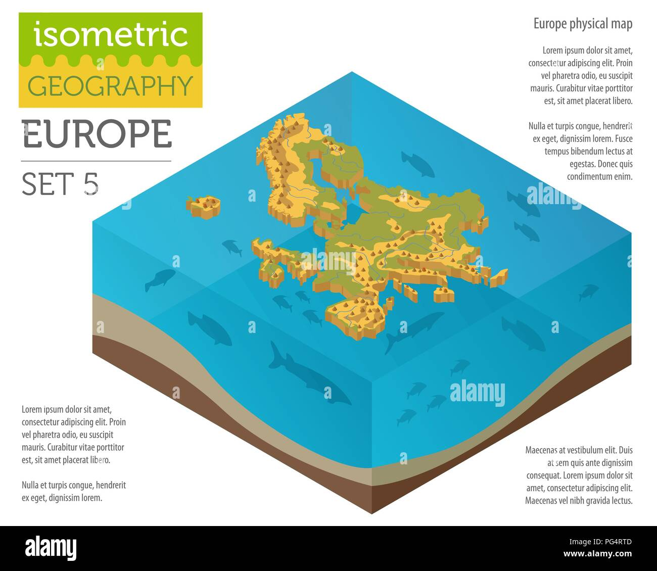 Isometric 3d Europe physical map constructor elements on the water surface. Build your own geography infographics collection. Vector illustration - Stock Image