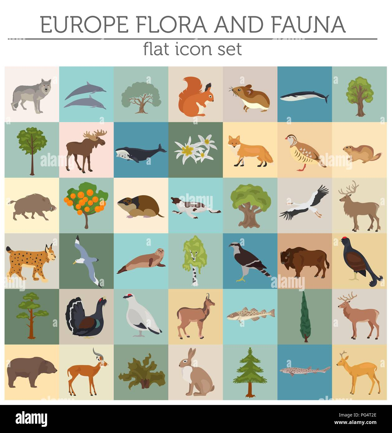 Flat European flora and fauna map constructor elements. Animals, birds and sea life isolated on white big set. Build your own geography infographics c - Stock Image