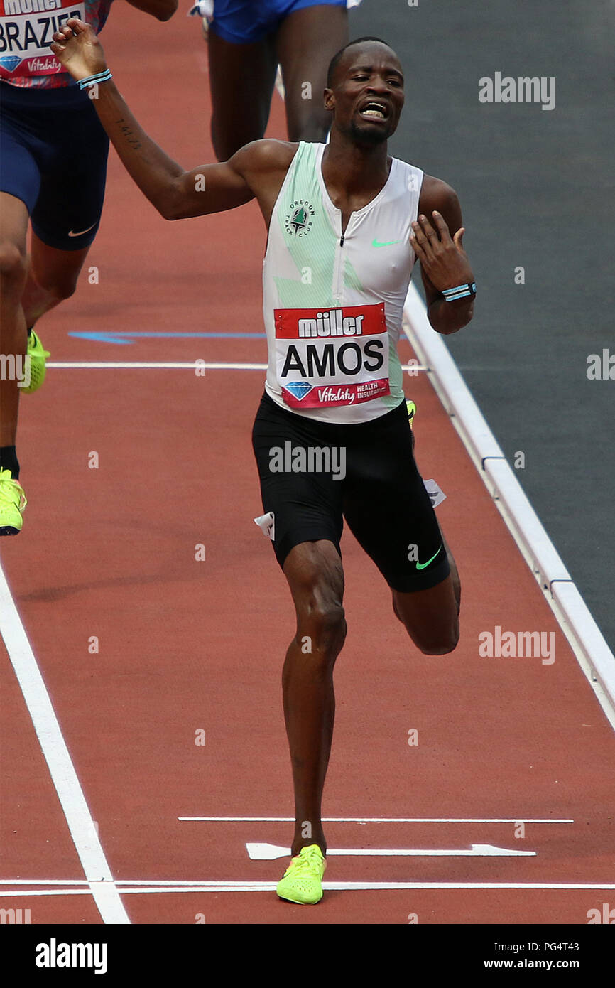 Nijel AMOS of Botswana wins the mens 800 metres at the 2017 Muller Anniversary games in London - Stock Image