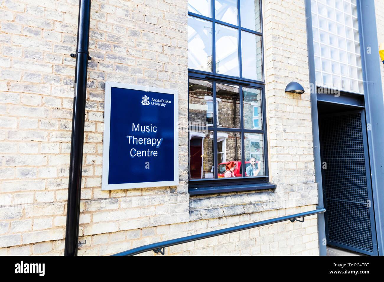 Music Therapy Centre Cambridge, Anglia Ruskin University, Music Therapy Centre sign, Music Therapy Centre Anglia Ruskin University Cambridge, UK - Stock Image