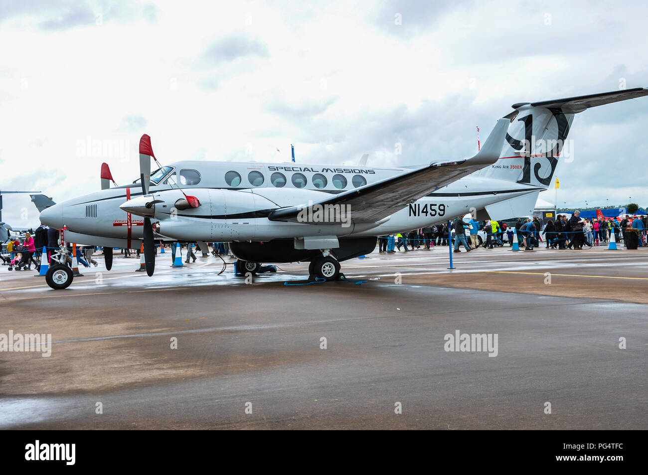 Beechcraft King Air 350ER Special Missions at the Royal International Air Tattoo RIAT RAF Fairford, Cotswolds, UK. Military version - Stock Image