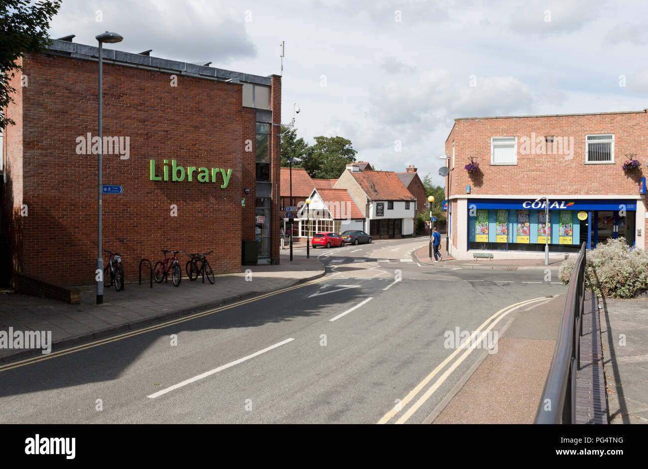 Thetford Library, Raymond Street, Thetford, looking to Tanner Street. Unsharpened - Stock Image