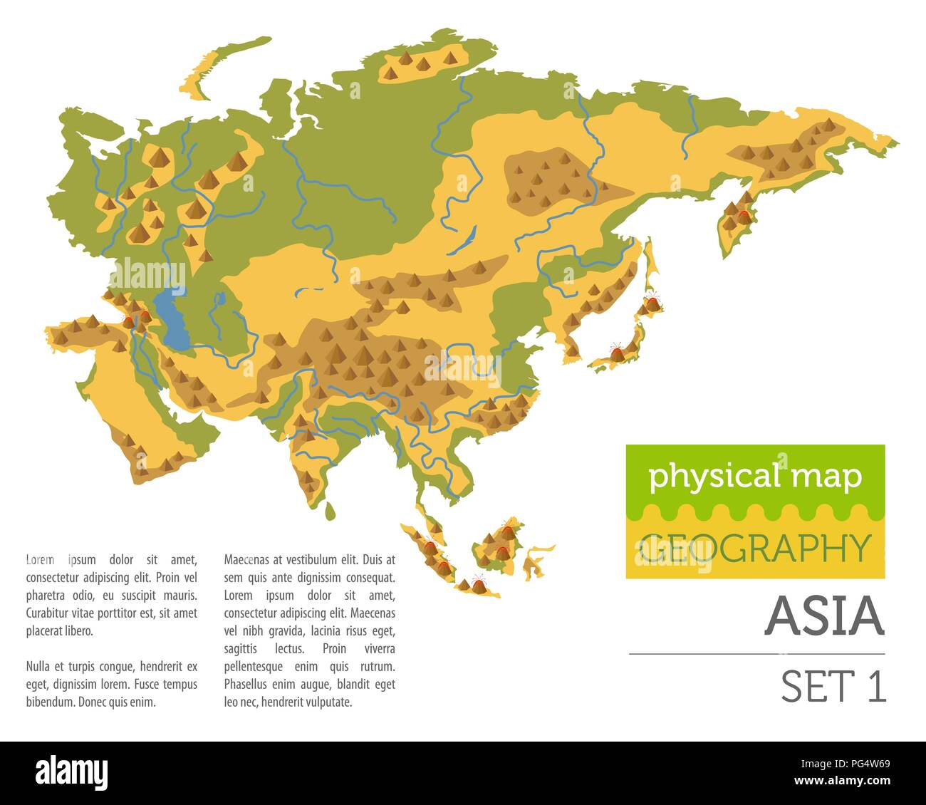 Flat Asia physical map constructor elements isolated on white. Build your own geography infographics collection. Vector illustration - Stock Image