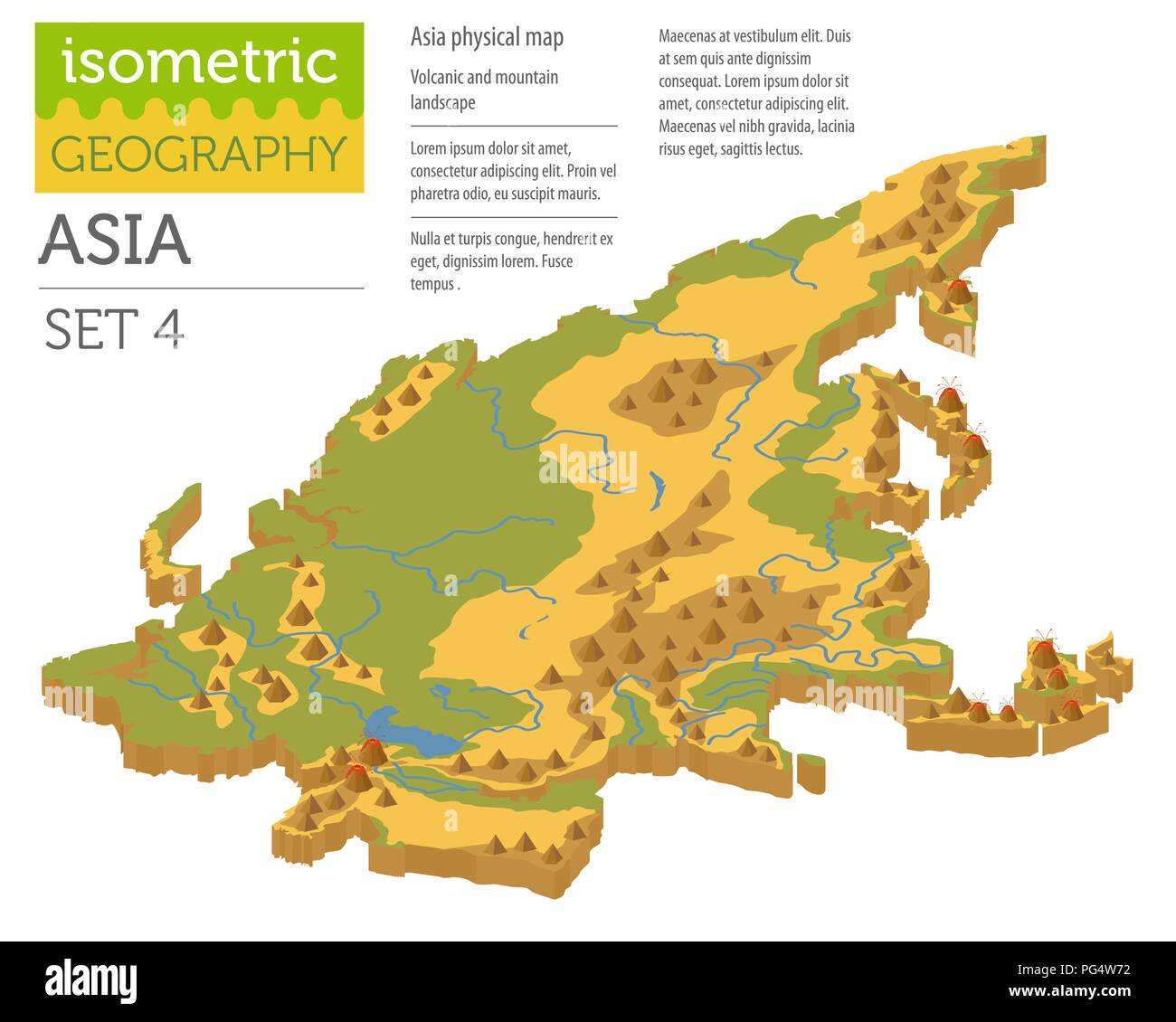 Isometric 3d Asia physical map constructor elements isolated on white. Build your own geography infographics collection. Vector illustration - Stock Image