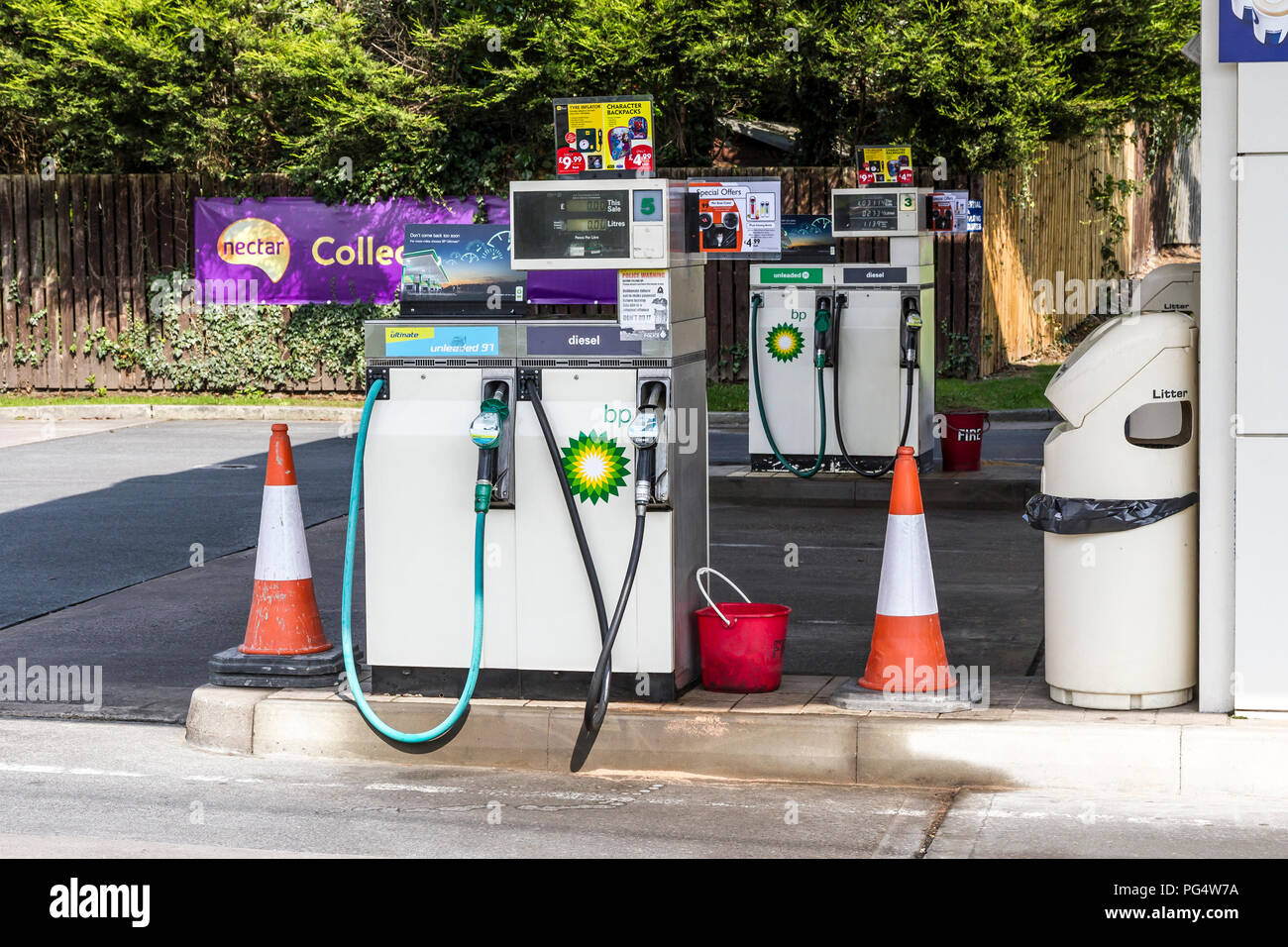 BP petrol pump at fuel station - Stock Image