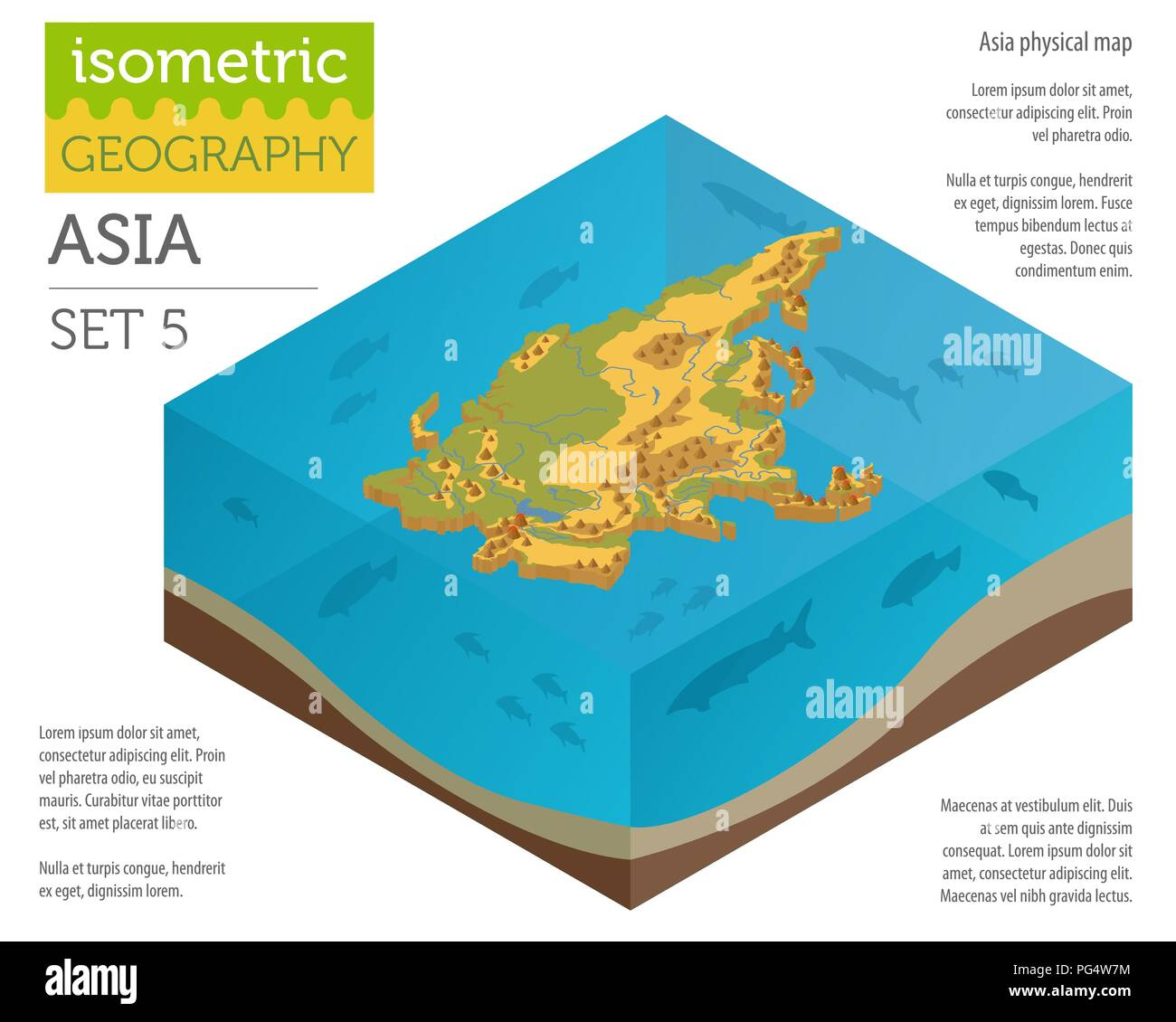 Isometric 3d Asia physical map constructor elements on the water surface. Build your own geography infographics collection. Vector illustration - Stock Image