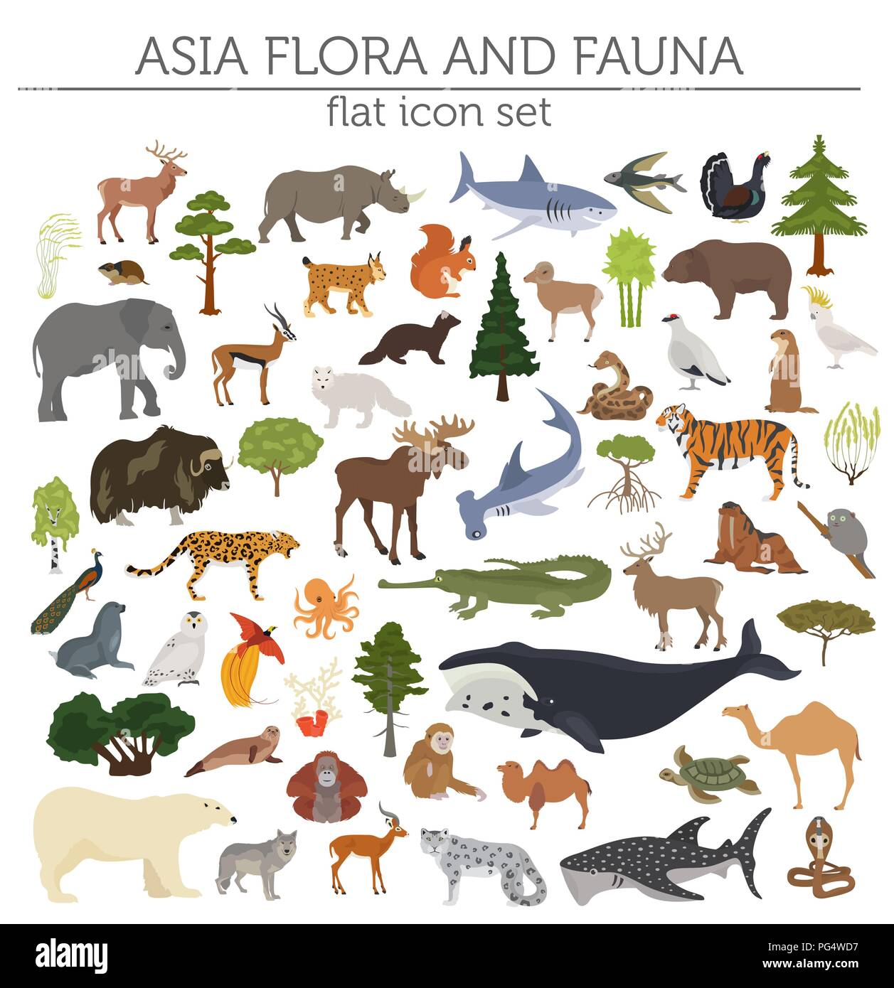 Flat Asian flora and fauna map constructor elements. Animals, birds and sea life isolated on white big set. Build your own geography infographics coll - Stock Image