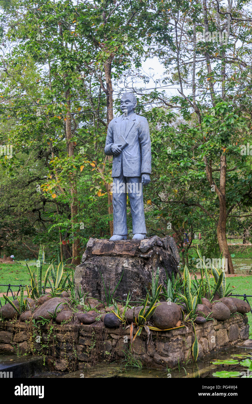 Statue in the Royal Gardens at the historical citadel monument of Sigiriya or Lion Rock in the Cultural Triangle of Sri Lanka - Stock Image