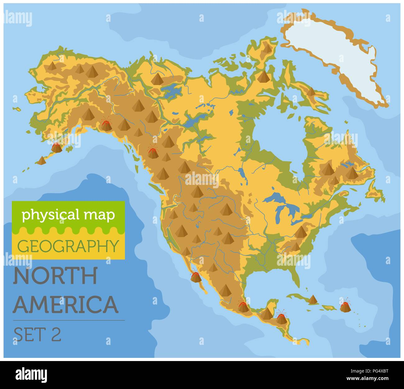 North America physical map elements. Build your own geography info ...