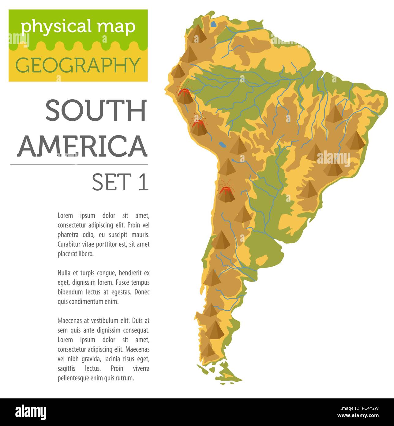 South America physical map elements. Build your own ...