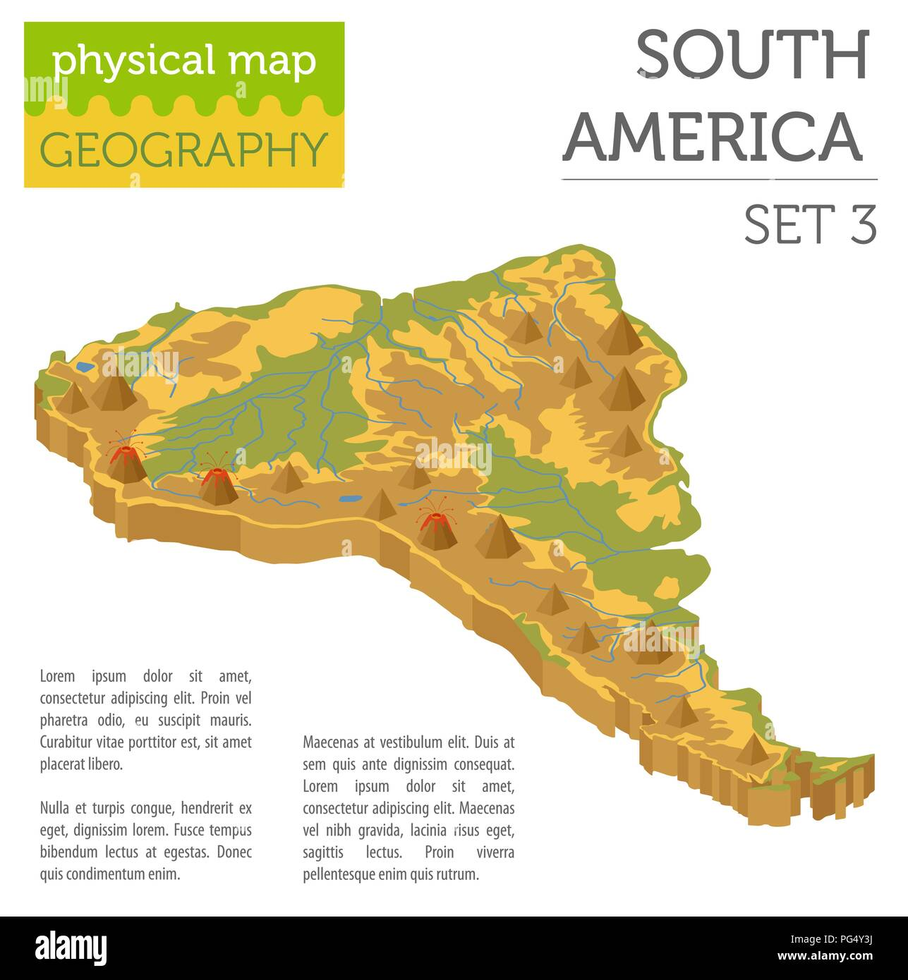 Isometric 3d South America physical map elements. Build your own ...