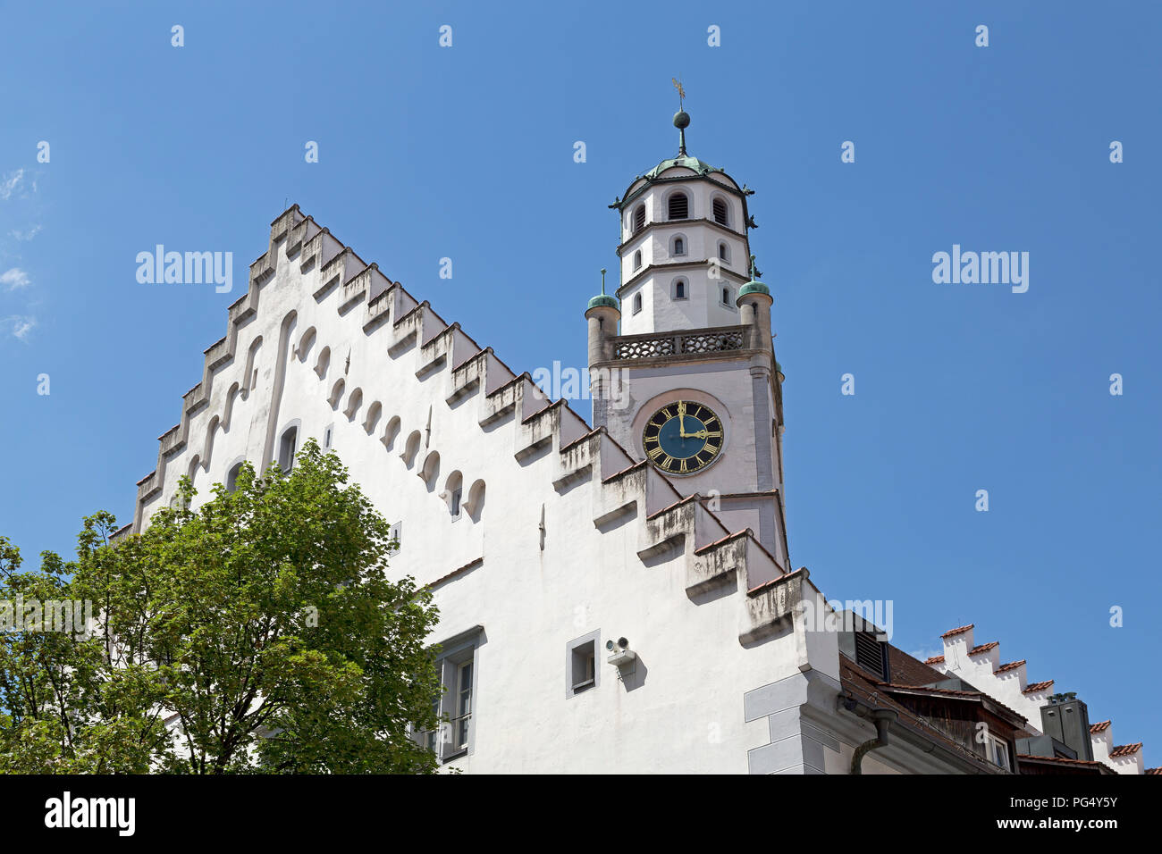 Waaghaus (weighing house) and Blaserturm (trumpeter´s tower), Ravensburg, Baden-Wuerttemberg, Germany - Stock Image