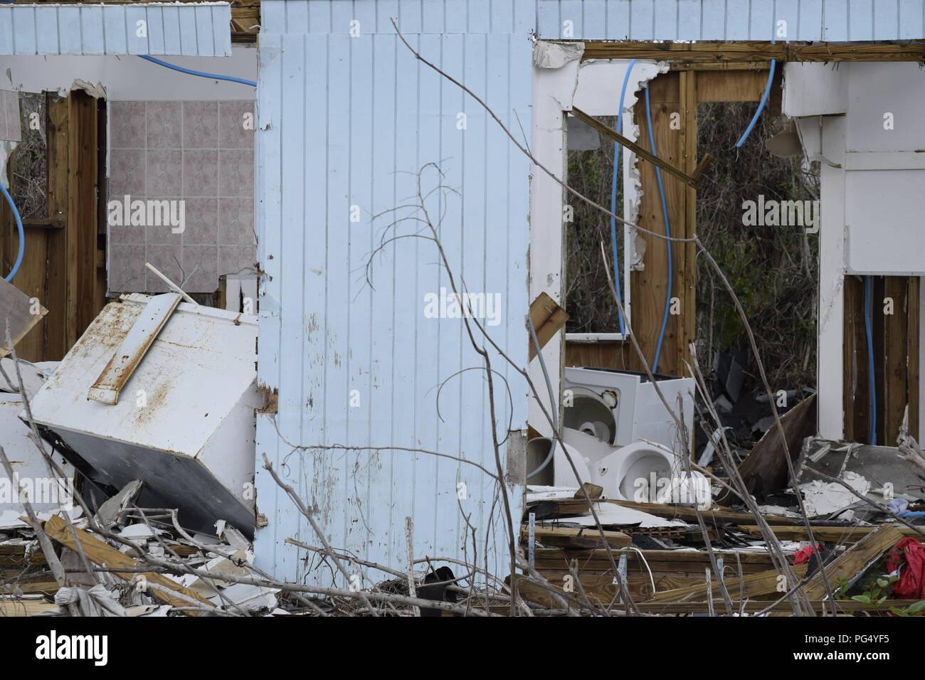 Hurricane Matthew 2016 West End, Grand Bahama Island, Bahamas Storm Damage Stock Photo