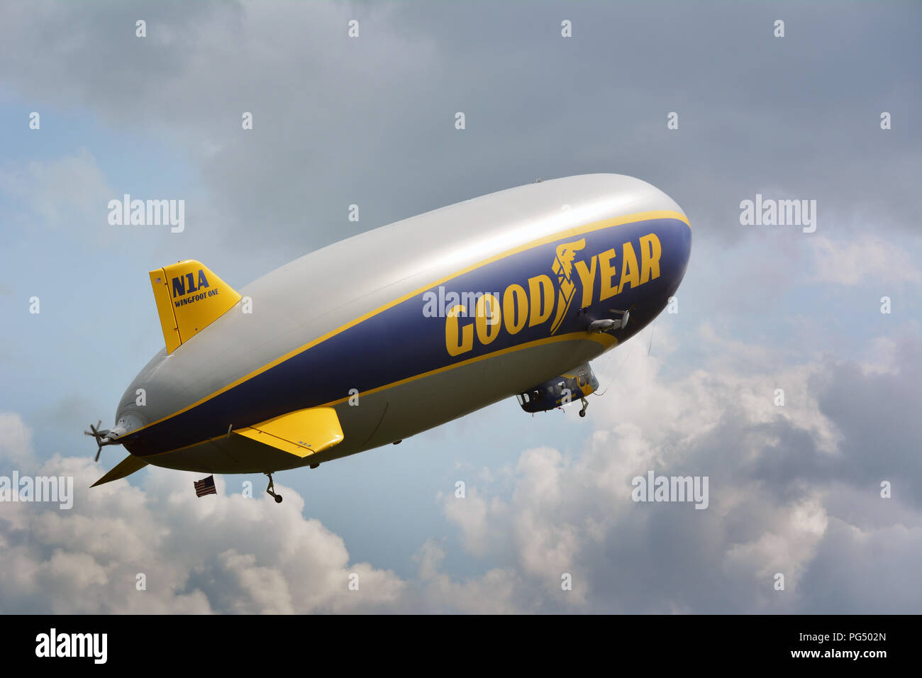 The 246-foot-long blimp at Wyoming Valley Airport in Forty Fort PA.on Tues afternoon 8-20-2018. Wingfoot One is a new generation of Goodyear blimps. Stock Photo