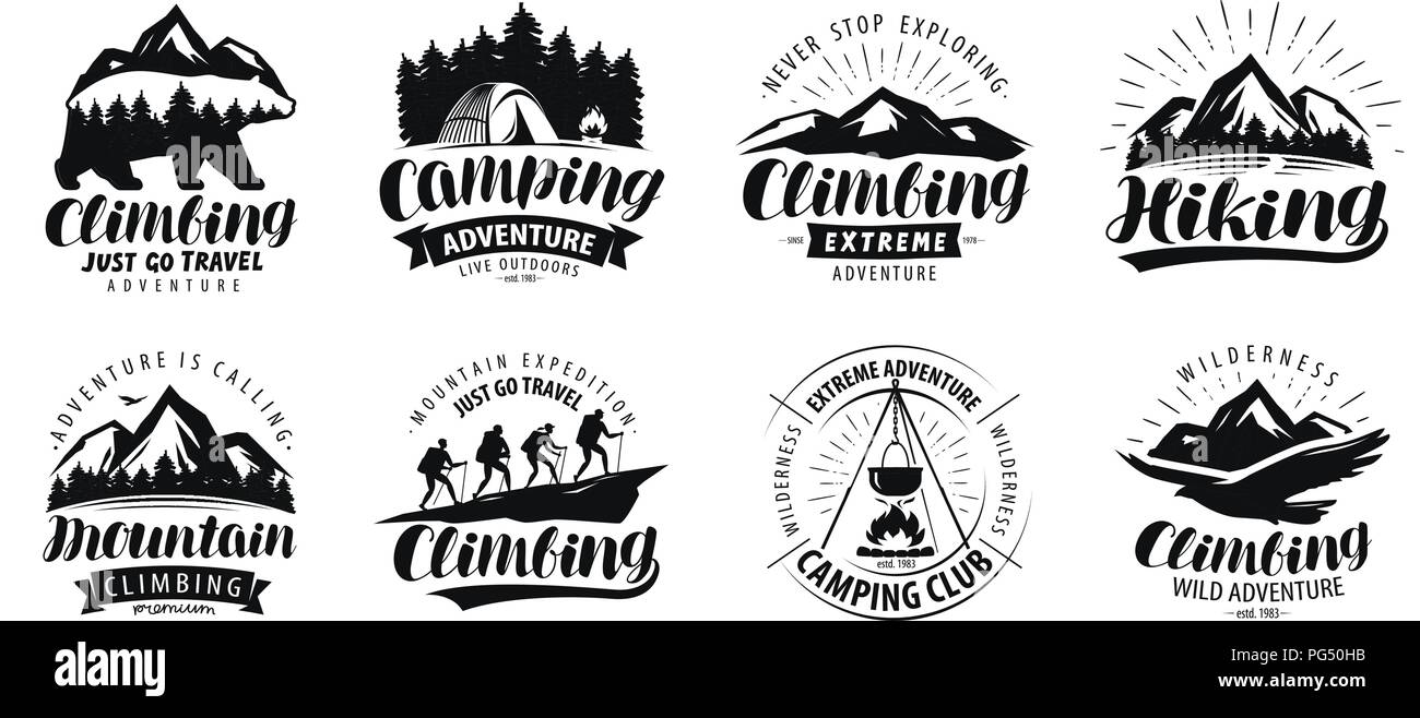 Camping, climbing logo or label. Hiking trip, hike set of icons. Lettering vector - Stock Vector