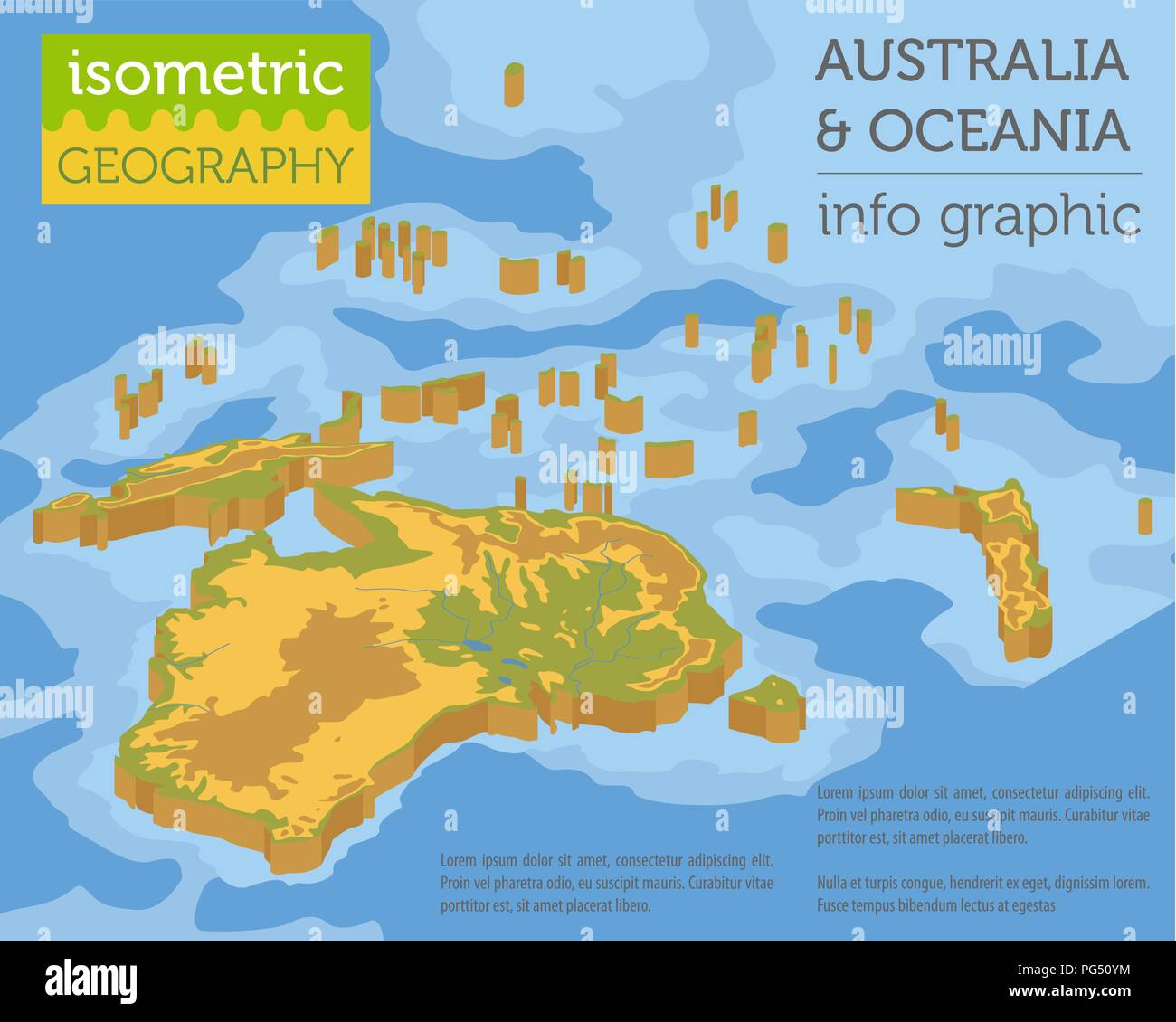 Isometric 3d Australia and Oceania physical map elements ...