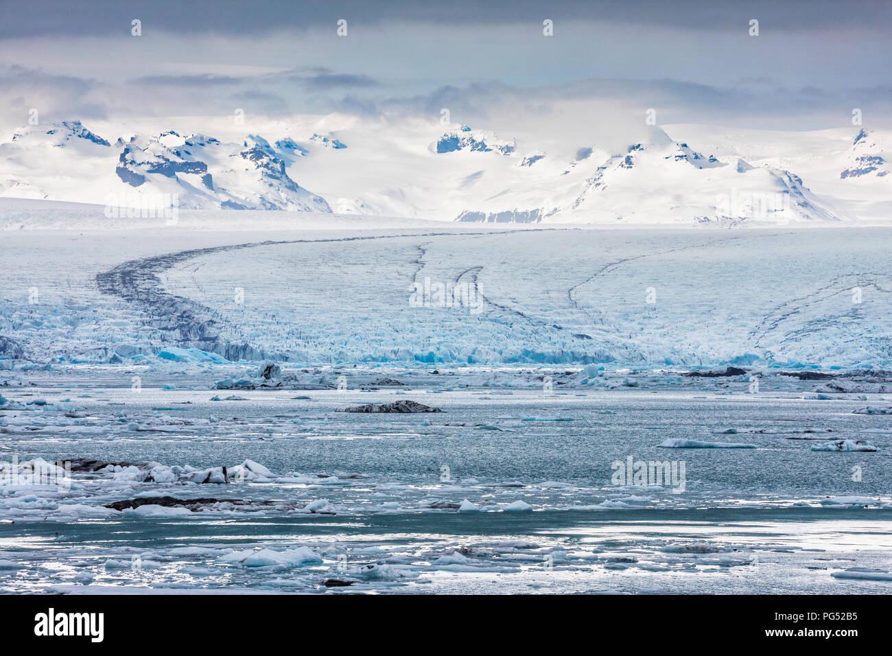 Iceland glacier lagoon, Jokulsarlon Glacier Stock Photo