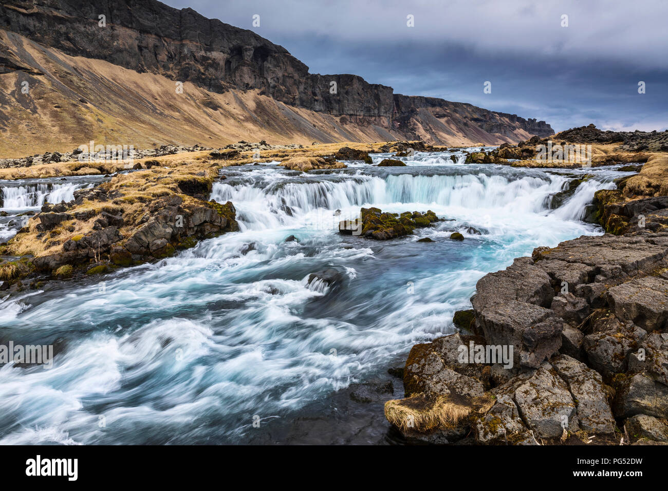 Waterfalls near the Pjodvegur road in the Southern Region of Iceland - Stock Image