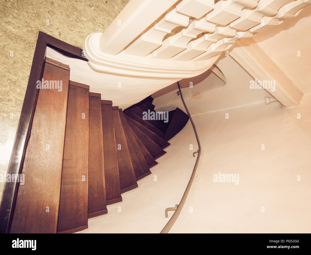 Brown old staircase - Stock Image