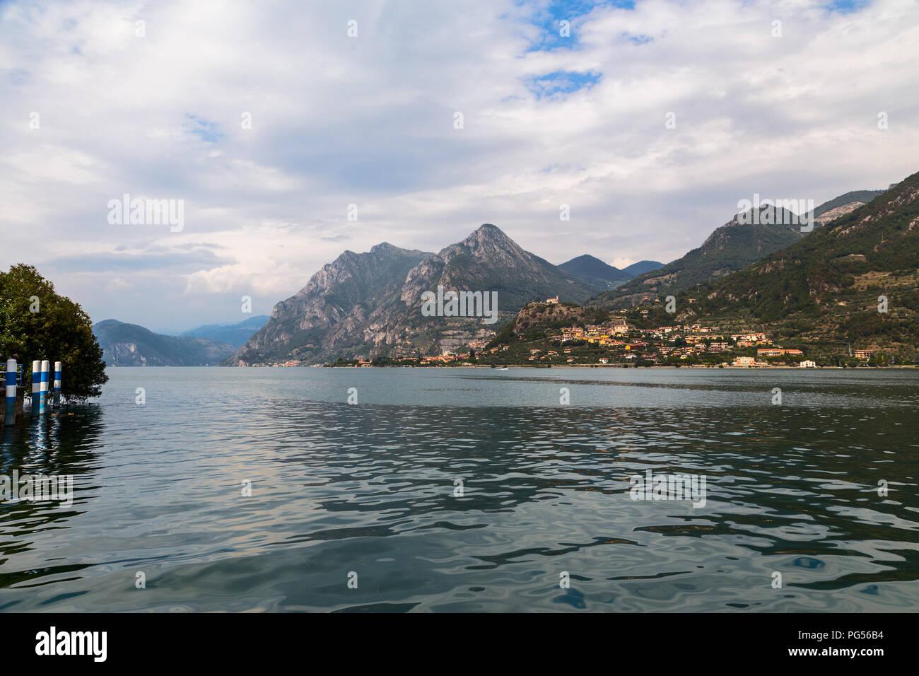Lake Iseo and the surrounding mountain range. Italy - Stock Image
