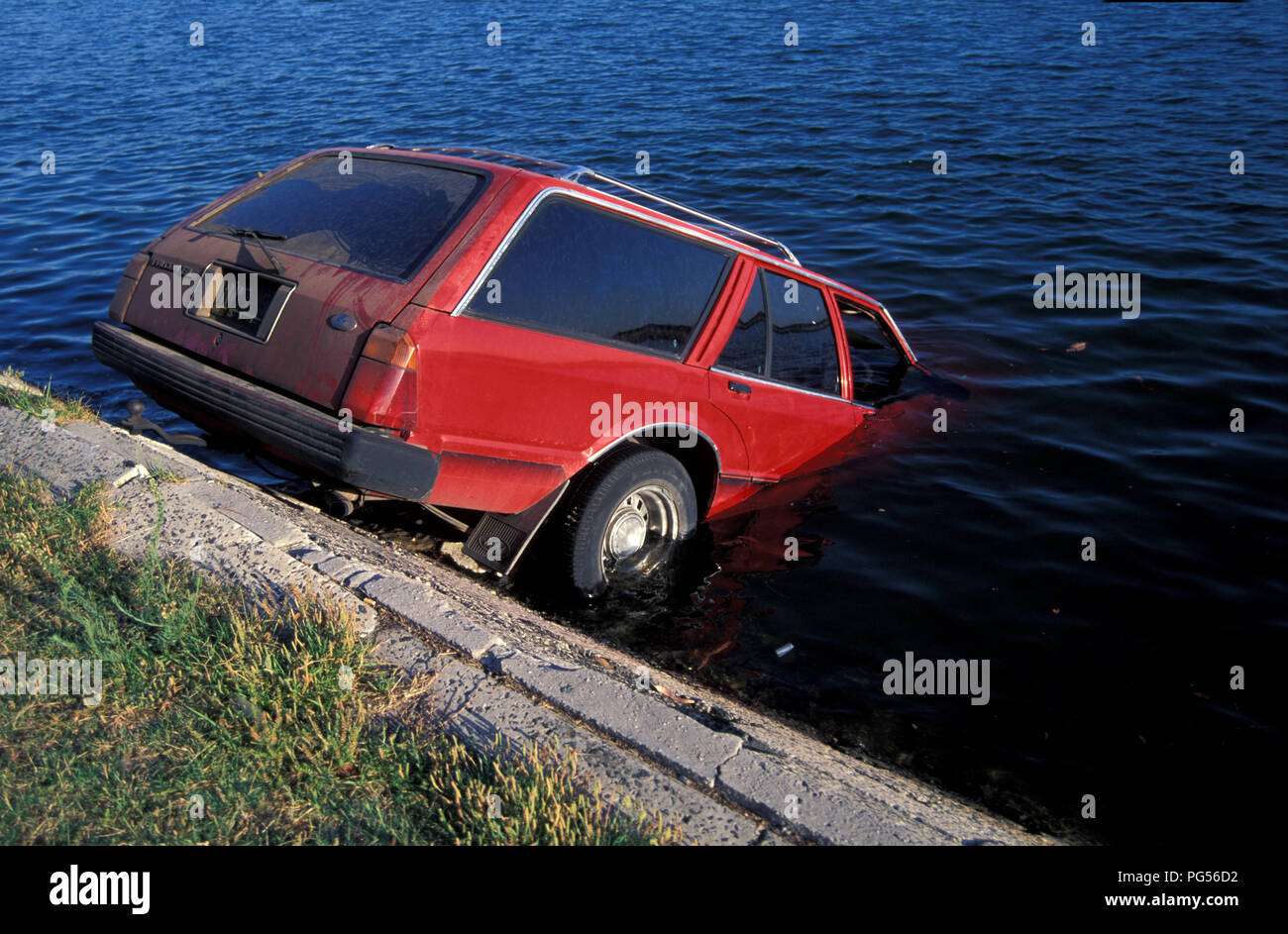 Red Station Wagon Vehicle Partly Submerged In A River In New South Wales Australia Stock Photo Alamy