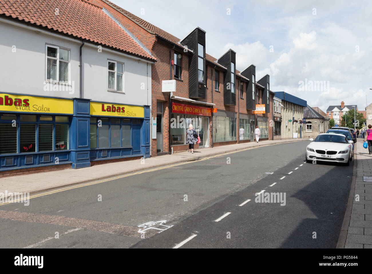 Shops and businesses in Guildhall Street, Thetford. Unsharpened - Stock Image