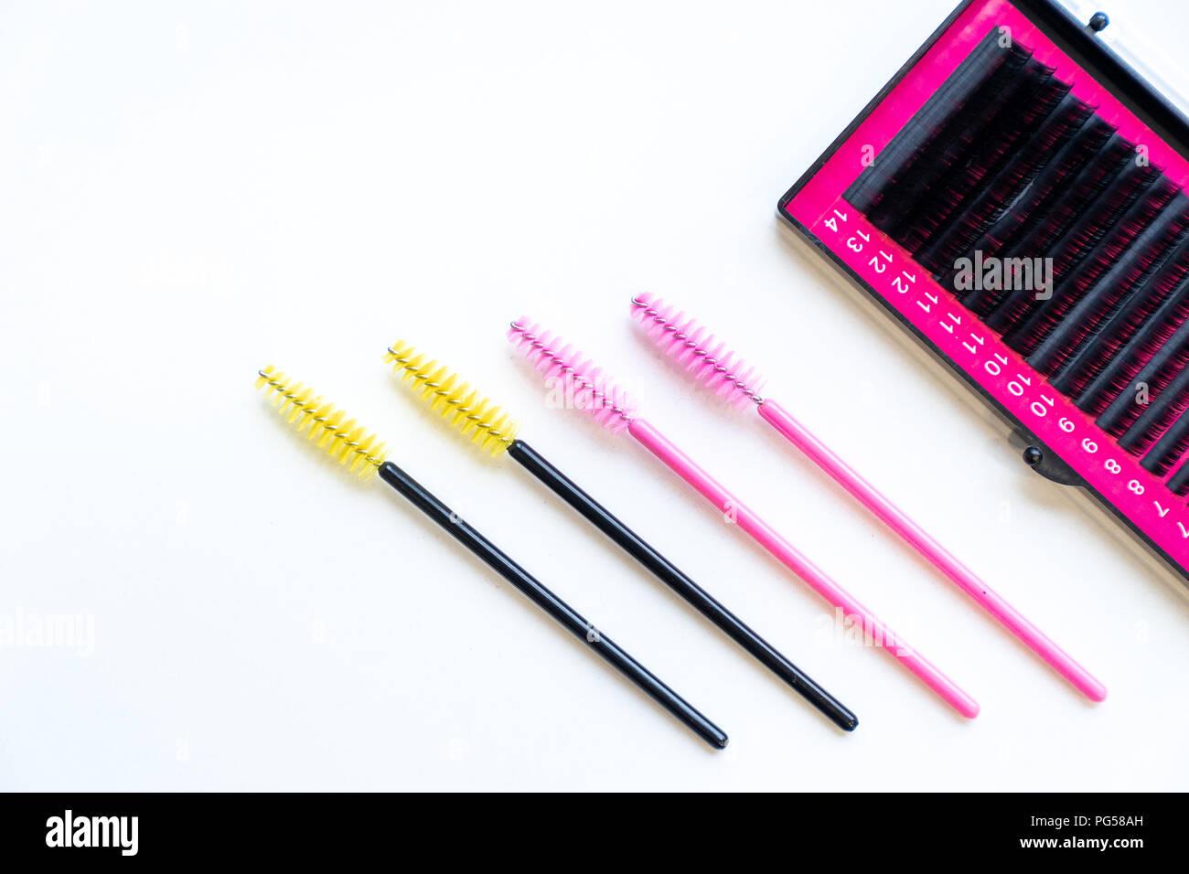 Top View Colourful Of Micro Eyelash Brushes Mascara Wan And Fake