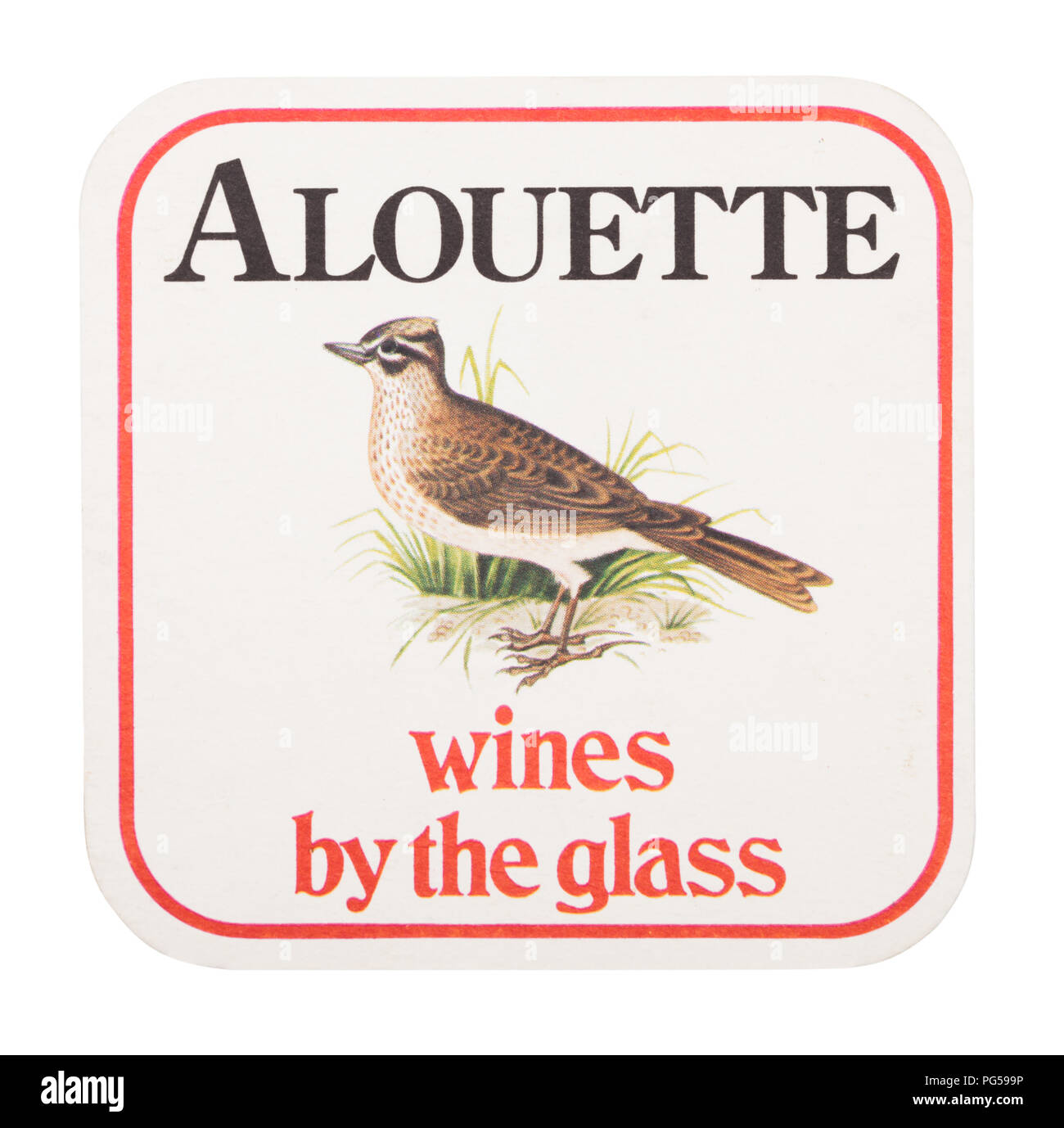 LONDON, UK - AUGUST 22, 2018: Alouette wines by the glass paper mat coaster isolated on white background. - Stock Image