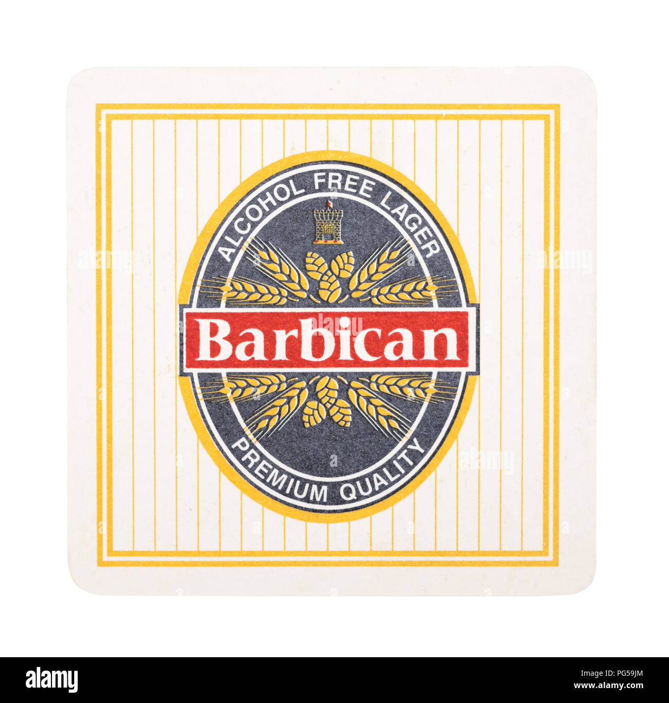 LONDON, UK - AUGUST 22, 2018: Barbican lager paper beer beermat coaster isolated on white background. - Stock Image